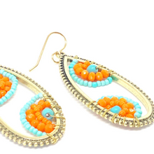 Load image into Gallery viewer, Orange and Blue Earrings. Orange and Blue Dangles. Beaded Wire Wrapped Earrings. Boho Style Earrings.
