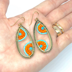 Orange and Blue Earrings. Orange and Blue Dangles. Beaded Wire Wrapped Earrings. Boho Style Earrings.