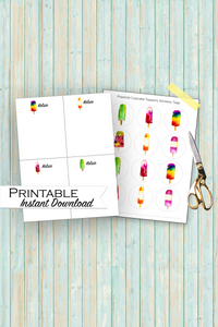 Personalized Popsicle Bundle, Popsicle Note Cards, Popsicle Cupcake Toppers, Printable Bundle, Popsicle Stationary, Popsicle Party Decor