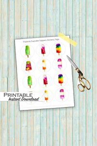 Popsicle Cupcake Toppers, Popsicle Printable, Popsicle Party, Popsicle Printable Stickers, Popsicle Watercolor, Fruit Pop