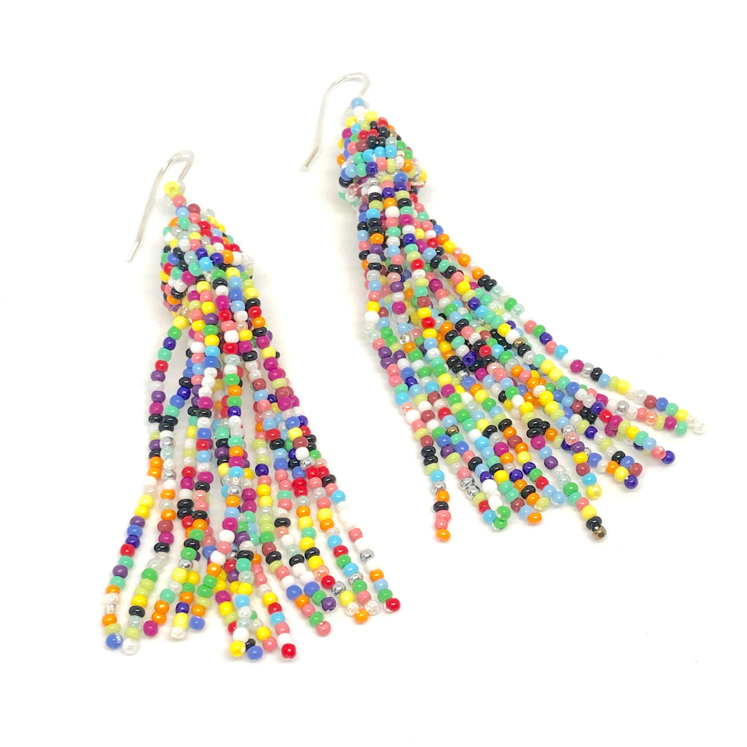 Rainbow Earrings. Rainbow Seed Bead Dangles. Boho Vibes.