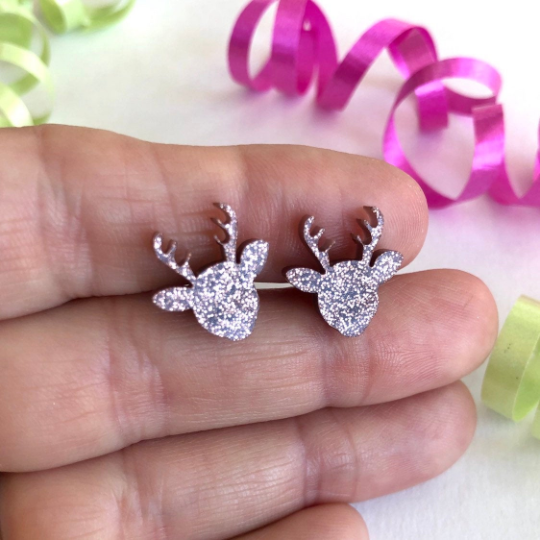 handmade rose gold glitter reindeer stud earrings