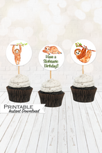 Load image into Gallery viewer, Sloth Cupcake Toppers, Printable Cupcake Toppers, Have a Slothtastic Birthday, Instant Digital Download, Gender Neutral, Sloth Birthday