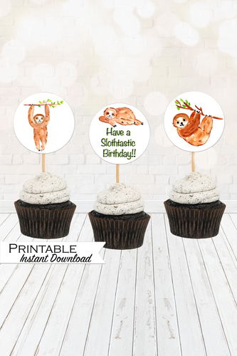 Sloth Cupcake Toppers, Printable Cupcake Toppers, Have a Slothtastic Birthday, Instant Digital Download, Gender Neutral, Sloth Birthday