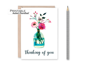 Thinking of you Card, Peony Card, Floral Printable Card