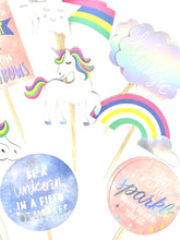Load image into Gallery viewer, Unicorn Cupcake Toppers. Unicorn Party. Rainbow Decor. Sparkle. Be a Dreamer. Unicorn Sticker Set. Believe in Magic. Unicorn Birthday.