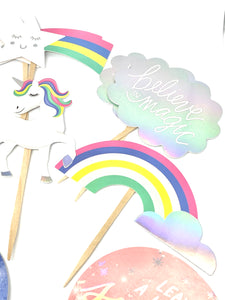 Unicorn Cupcake Toppers. Unicorn Party. Rainbow Decor. Sparkle. Be a Dreamer. Unicorn Sticker Set. Believe in Magic. Unicorn Birthday.