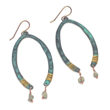 Load image into Gallery viewer, Boho Earrings. Horseshoe Nugget Wire-wrapped Dangle Earrings.