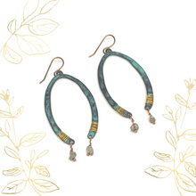 Load image into Gallery viewer, Boho Earrings. Horseshoe Nugget Wire-wrapped Dangle Earrings. Gifts for Her.