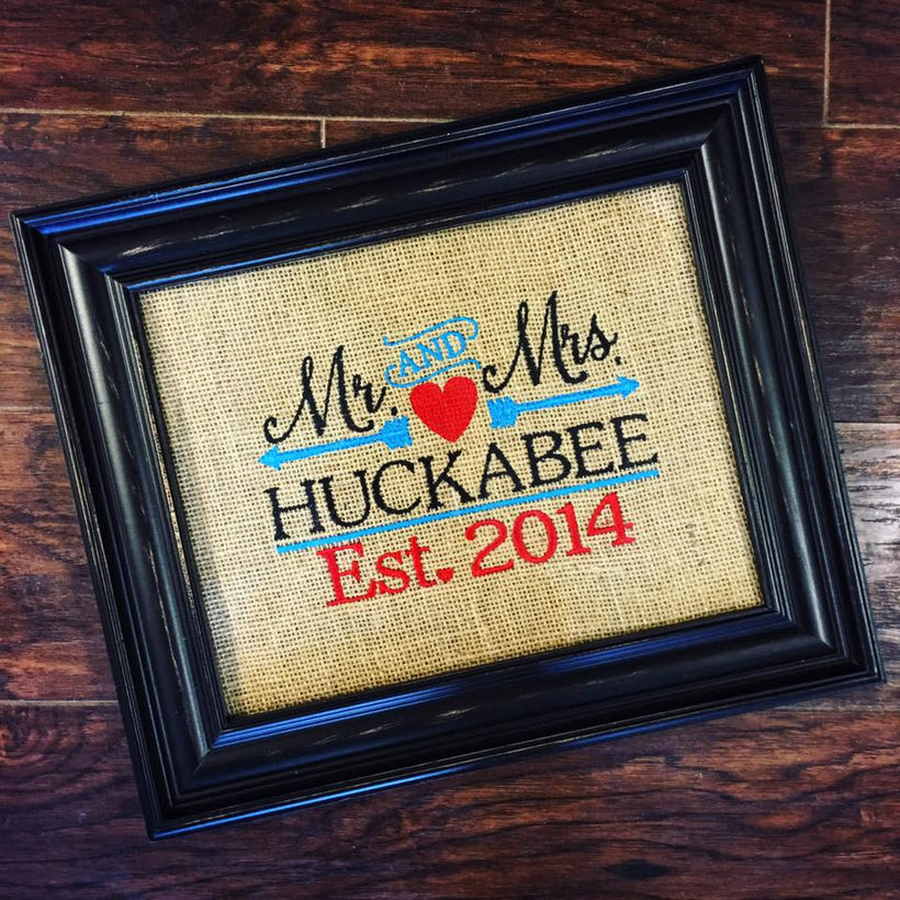 Personalized Wedding Anniversary Burlap Signs