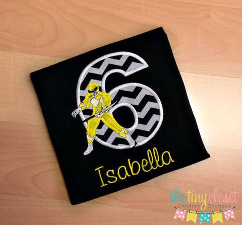 Personalized Power Ranger Birthday Design- Yellow