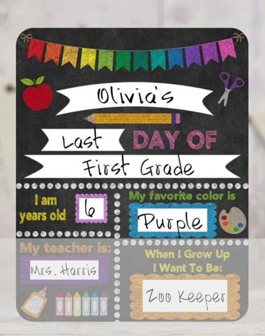 SCHOOL DRY ERASE BOARD-DARK RAINBOW