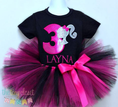 Personalized Barbie Birthday Tutu Set - Fushia & Silver