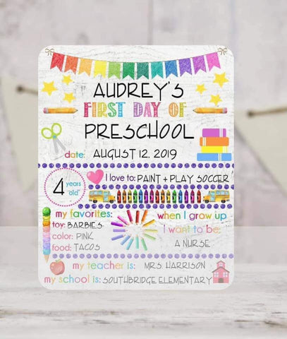 SCHOOL DRY ERASE BOARD-LIGHT RAINBOW