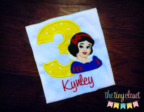 Personalized Snow White Birthday Design - Yellow Dot