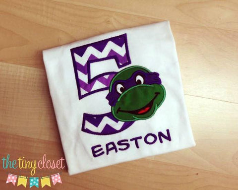 Personalized Ninja Turtle Birthday Design - Purple Chevron