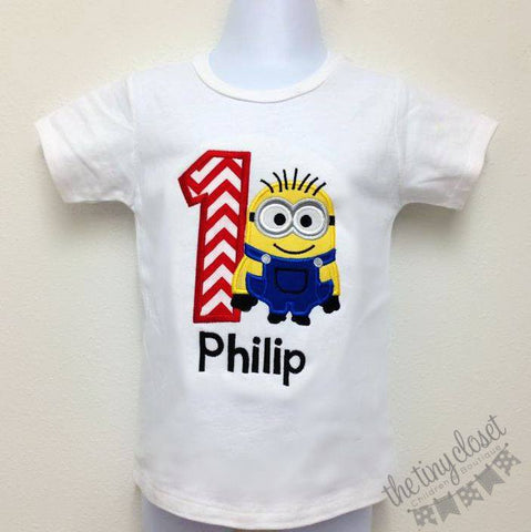 Personalized Minion Dave Birthday Design -  Red Chevron