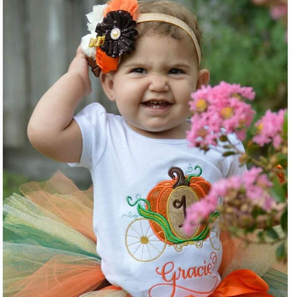 Personalized Fall Glittler Pumpkin Carriage Birthday Design