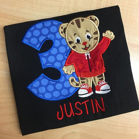 Personalized Daniel Tiger Birthday Design - Royal Blue Dot