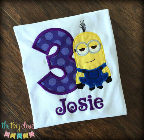 Personalized Minion Birthday Design- Kevin Purple Dot