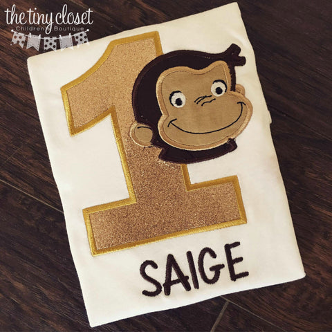 Personalized Glitter Curious George Birthday Design - Gold
