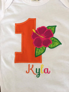 Personalized Hibiscus Flower Birthday Design