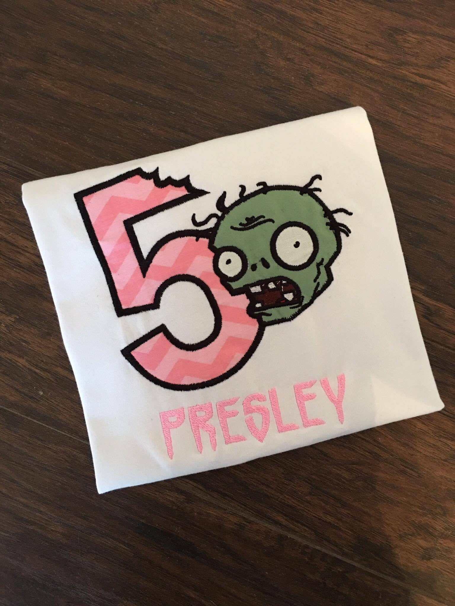 Personalized Plants Vs Zombies Birthday Design - Pink