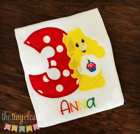 Personalized Care Bear Sunshine Birthday Design - Red Dot