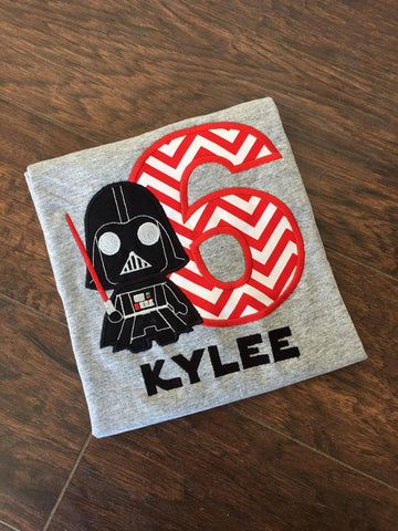 Personalized Darth Vader Light Saber Birthday Design- Red Chevron
