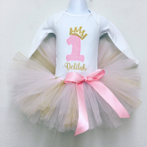 Personalized Bubble Gum & Gold Birthday Tutu Set