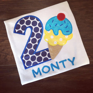 Personalized Ice Cream Party Birthday Design - Blues