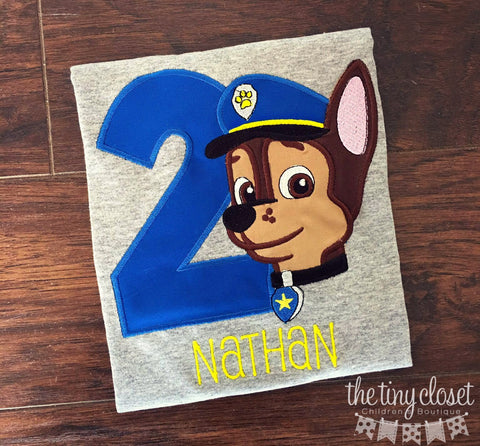 Personalized Paw Patrol Chase Birthday Design - Royal Blue