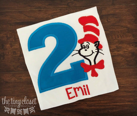 Personalized Cat in the Hat Birthday Design - Solid Turq