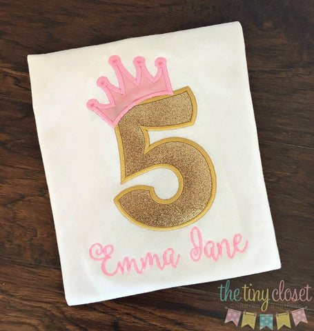 Personalized Gold Glitter Princess Birthday Design