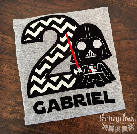 Personalized Darth Vader Light Saber Birthday Design - Black Chevron