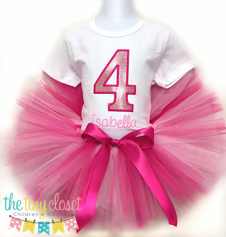 Personalized Pink Glitter Birthday Tutu Set