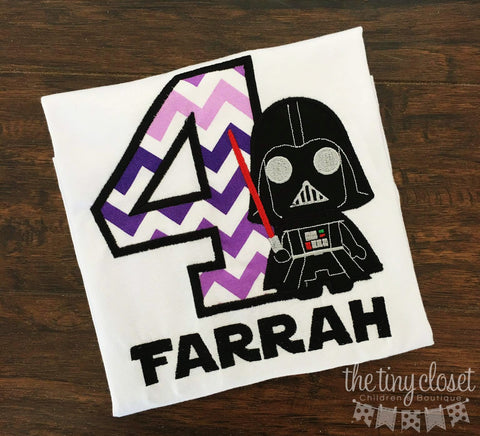 Personalized Darth Vader Light Saber Birthday Design - Purple Chevron