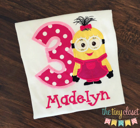 Personalized Girl Minion Birthday Design- Pink Dot