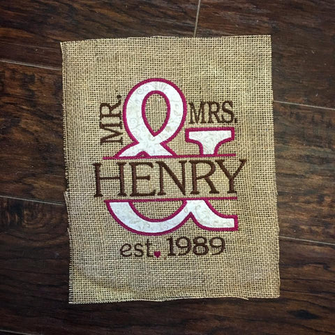 Mrs. & Mrs. Wedding Anniversary Sign - Creme & Maroon