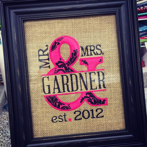 Mrs. & Mrs. Wedding Anniversary Sign - HP Damask