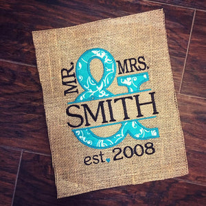 Mrs. & Mrs. Wedding Anniversary Sign - Turquoise Floral