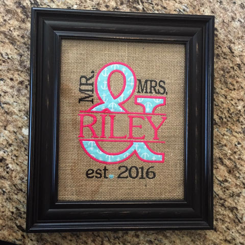 Mrs. & Mrs. Wedding Anniversary Sign - Blue Anchors