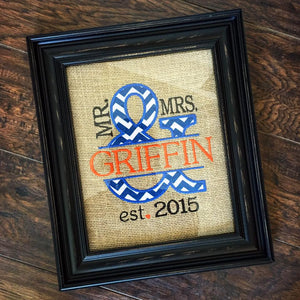 Mrs. & Mrs. Wedding Anniversary Sign - Boise State Colors