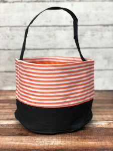 Personalized Orange Stripes Trick or Treat Bucket