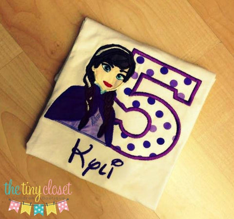 Personalized Frozen Anna Birthday Design- Purple Dots