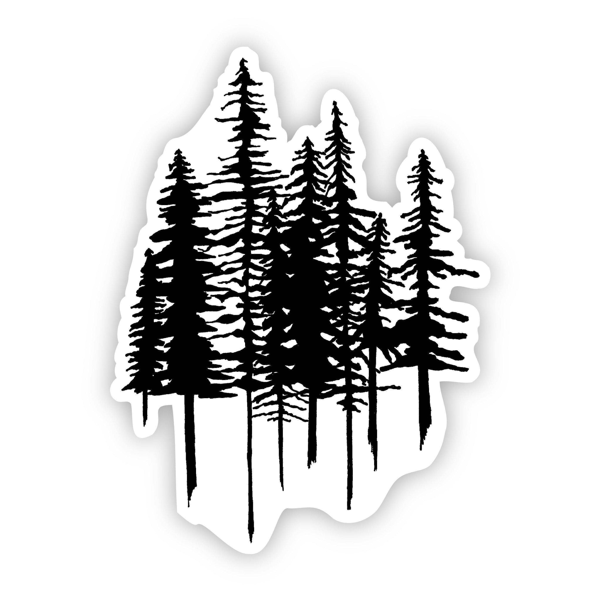 Big Moods - Trees Nature Sticker (Black and White)
