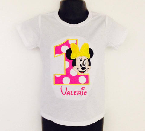 Personalized Baby Minnie Birthday Design - Hot Pink Dots