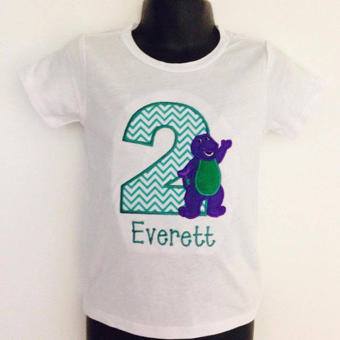 Personalized Barney Birthday Design - Green Chevron