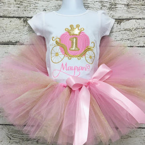 Personalized Pink Pumpkin Carriage Birthday Tutu Set