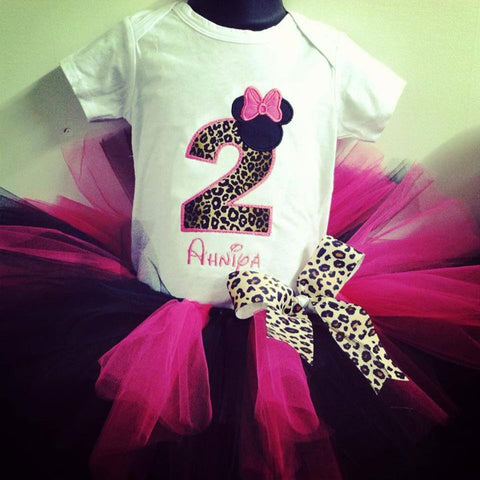 Personalized Minnie Mouse Birthday Tutu Set- Cheetah & HP